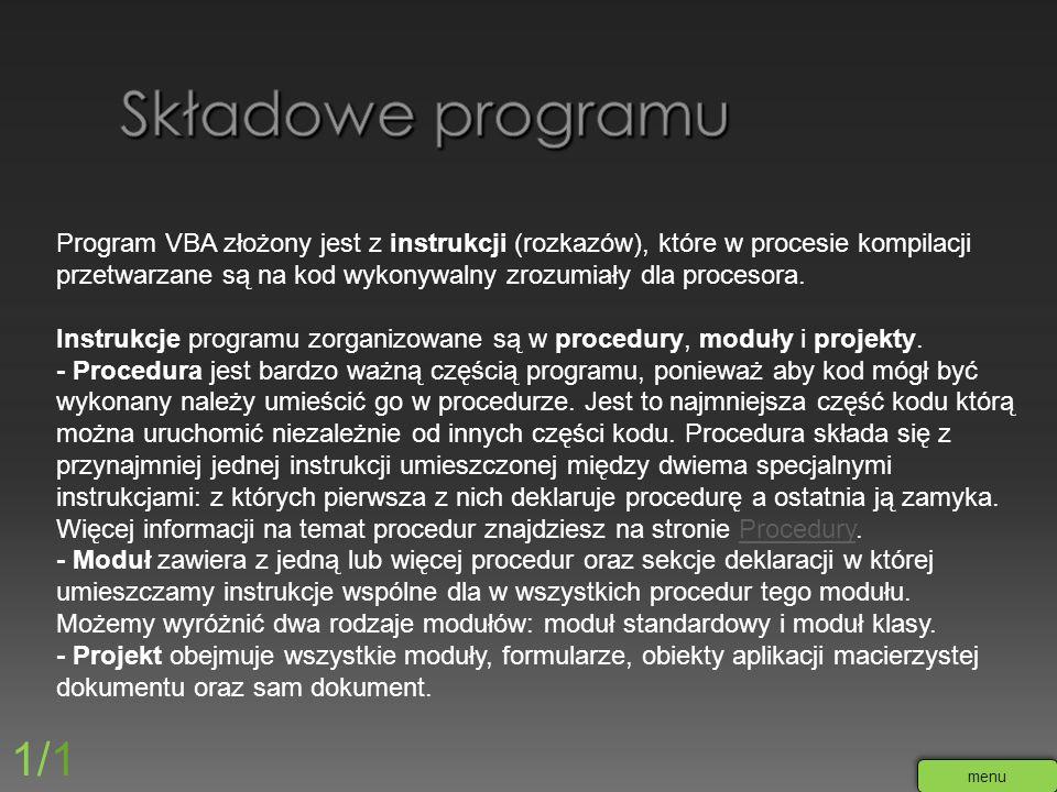 Składowe programu