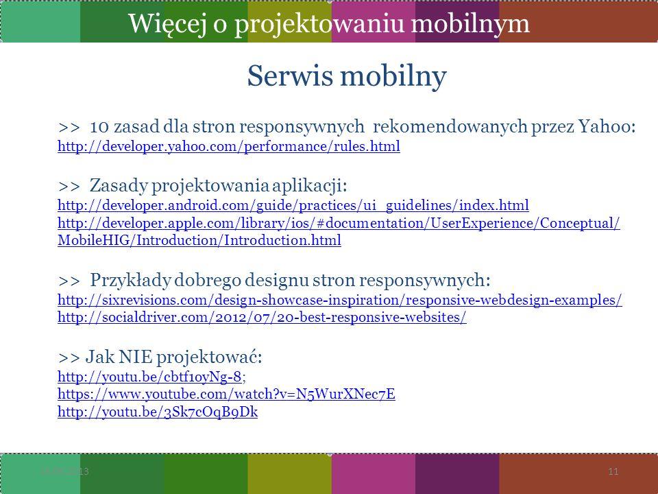 Więcej o projektowaniu mobilnym