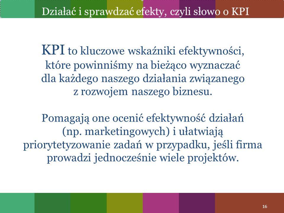 Działać i sprawdzać efekty, czyli słowo o KPI
