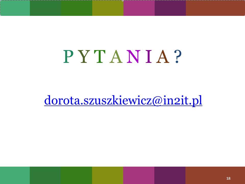 P Y T A N I A dorota.szuszkiewicz@in2it.pl