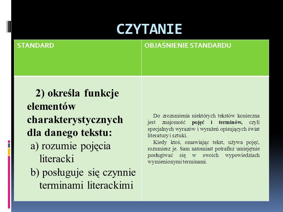 CZYTANIE STANDARD. OBJAŚNIENIE STANDARDU. 2) określa funkcje elementów charakterystycznych dla danego tekstu: