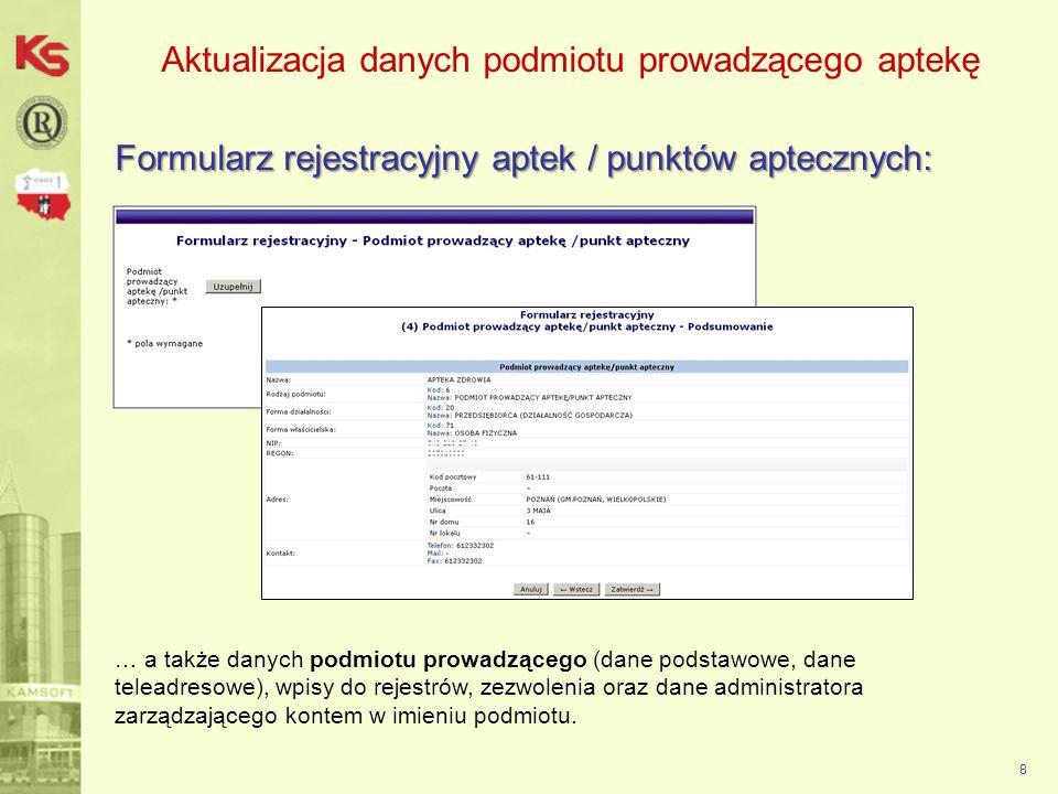 Aktualizacja danych podmiotu prowadzącego aptekę