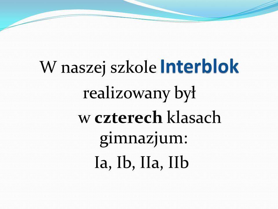 W naszej szkole Interblok realizowany był w czterech klasach gimnazjum: Ia, Ib, IIa, IIb