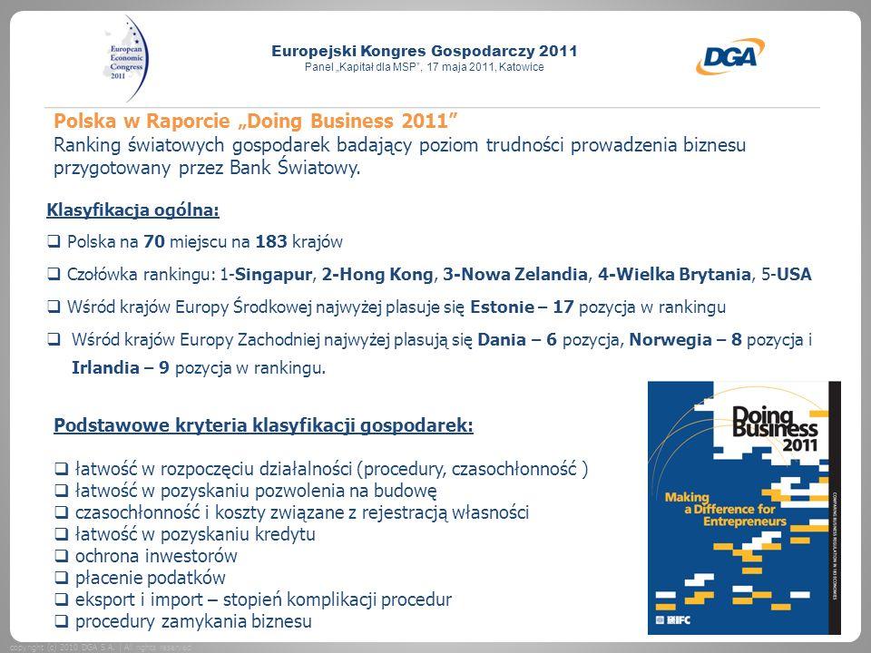 """Polska w Raporcie """"Doing Business 2011 Ranking światowych gospodarek badający poziom trudności prowadzenia biznesu przygotowany przez Bank Światowy."""