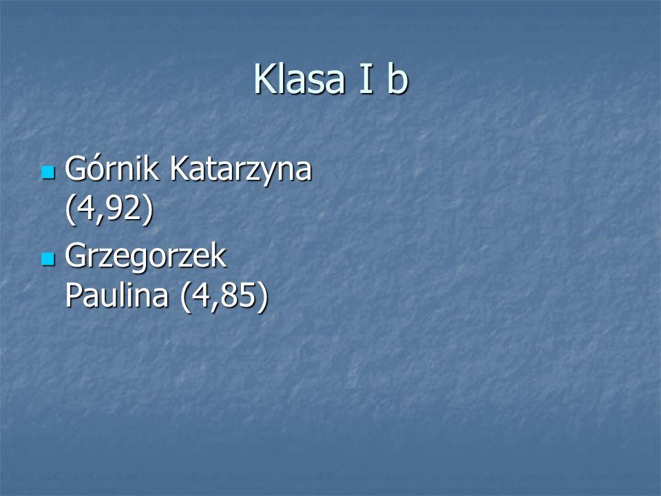 Klasa I b Górnik Katarzyna (4,92) Grzegorzek Paulina (4,85)
