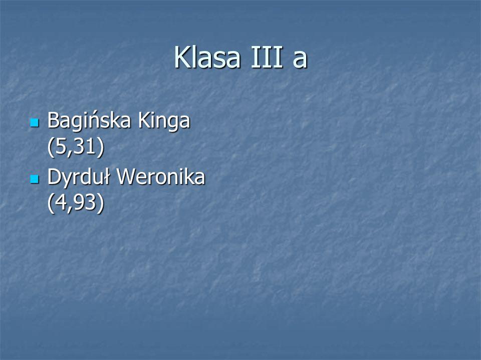 Klasa III a Bagińska Kinga (5,31) Dyrduł Weronika (4,93)