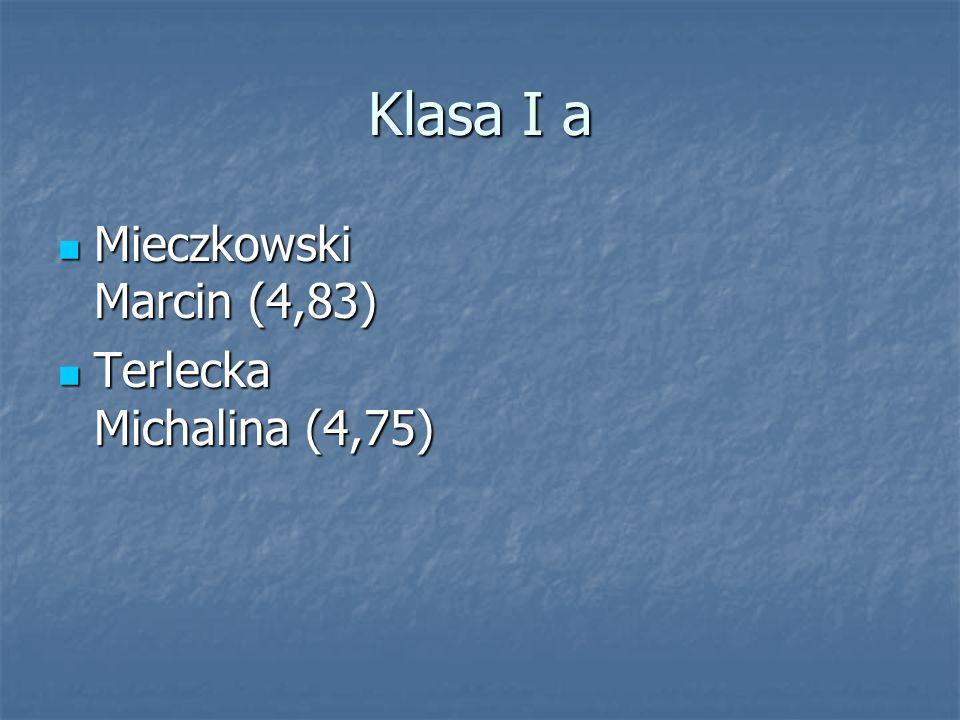 Klasa I a Mieczkowski Marcin (4,83) Terlecka Michalina (4,75)