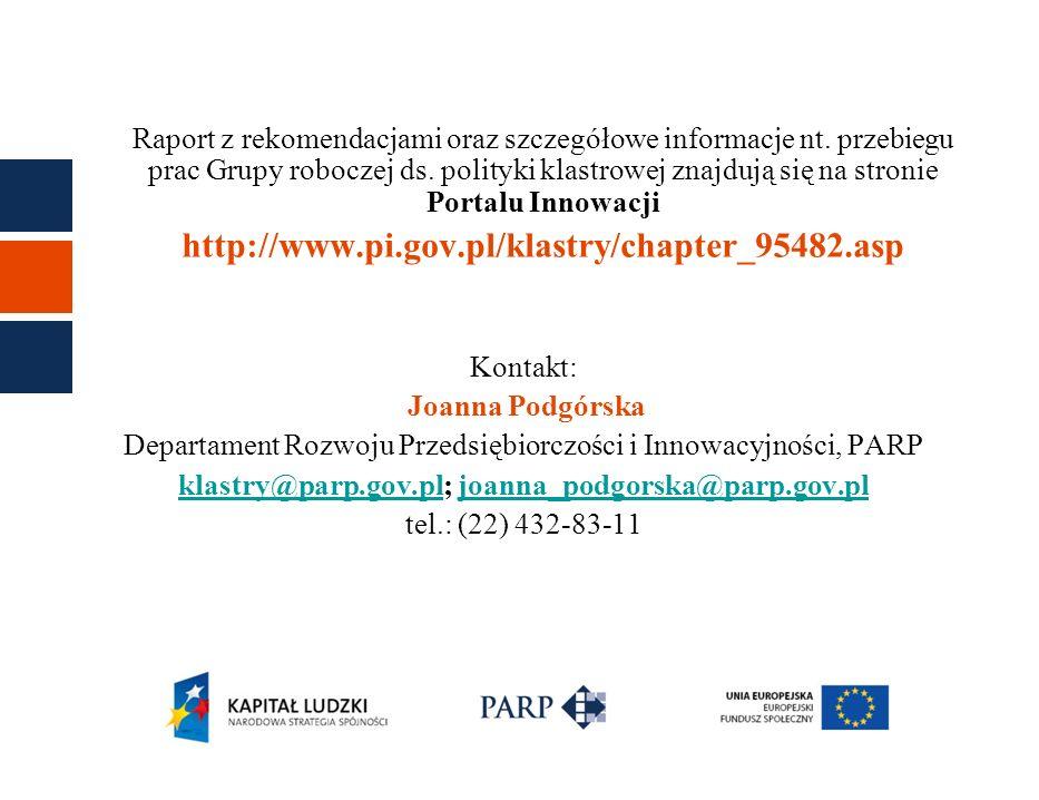 klastry@parp.gov.pl; joanna_podgorska@parp.gov.pl