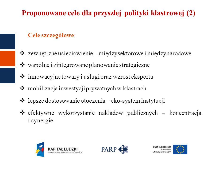 Proponowane cele dla przyszłej polityki klastrowej (2)