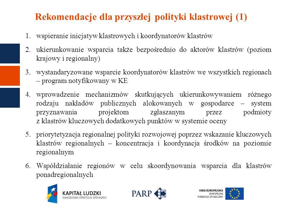 Rekomendacje dla przyszłej polityki klastrowej (1)