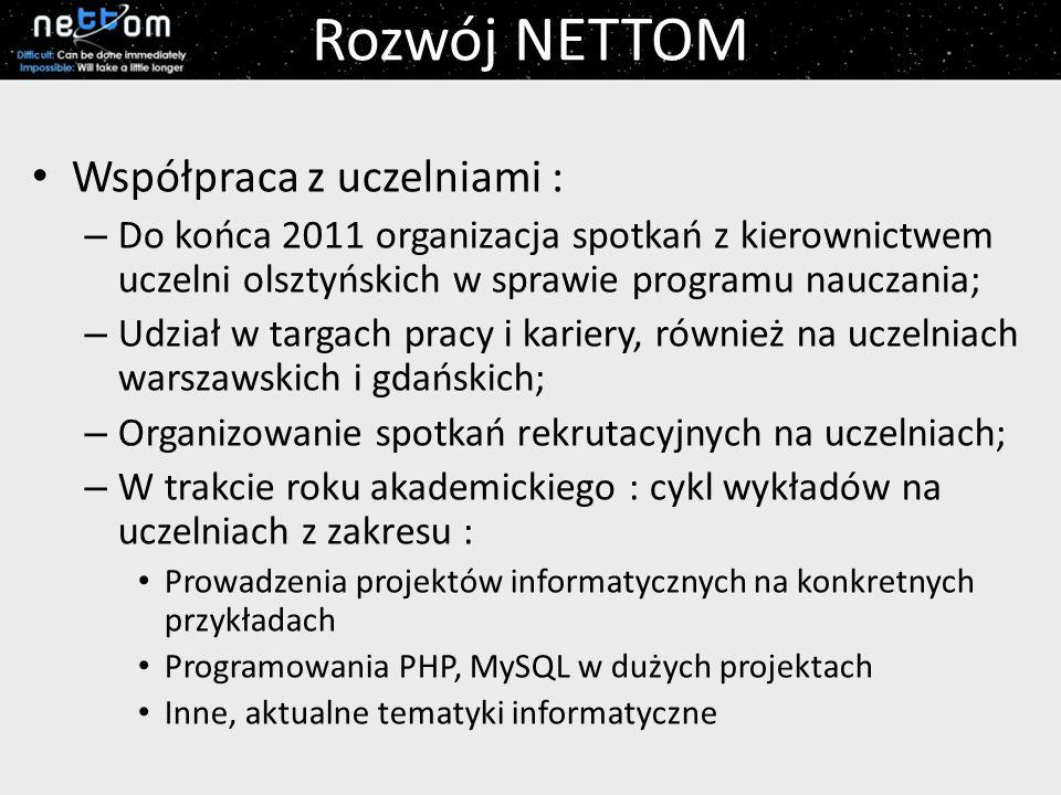 Rozwój NETTOM Współpraca z uczelniami :