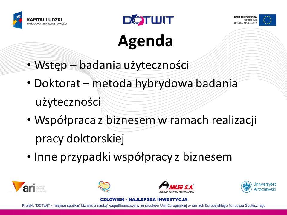 Agenda Wstęp – badania użyteczności