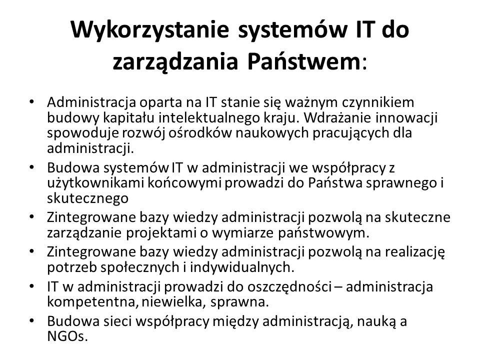 Wykorzystanie systemów IT do zarządzania Państwem: