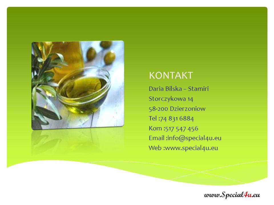 KONTAKT www.Special4u.eu Daria Bilska – Stamiri Storczykowa 14