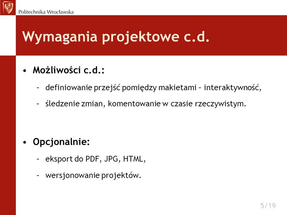 Wymagania projektowe c.d.