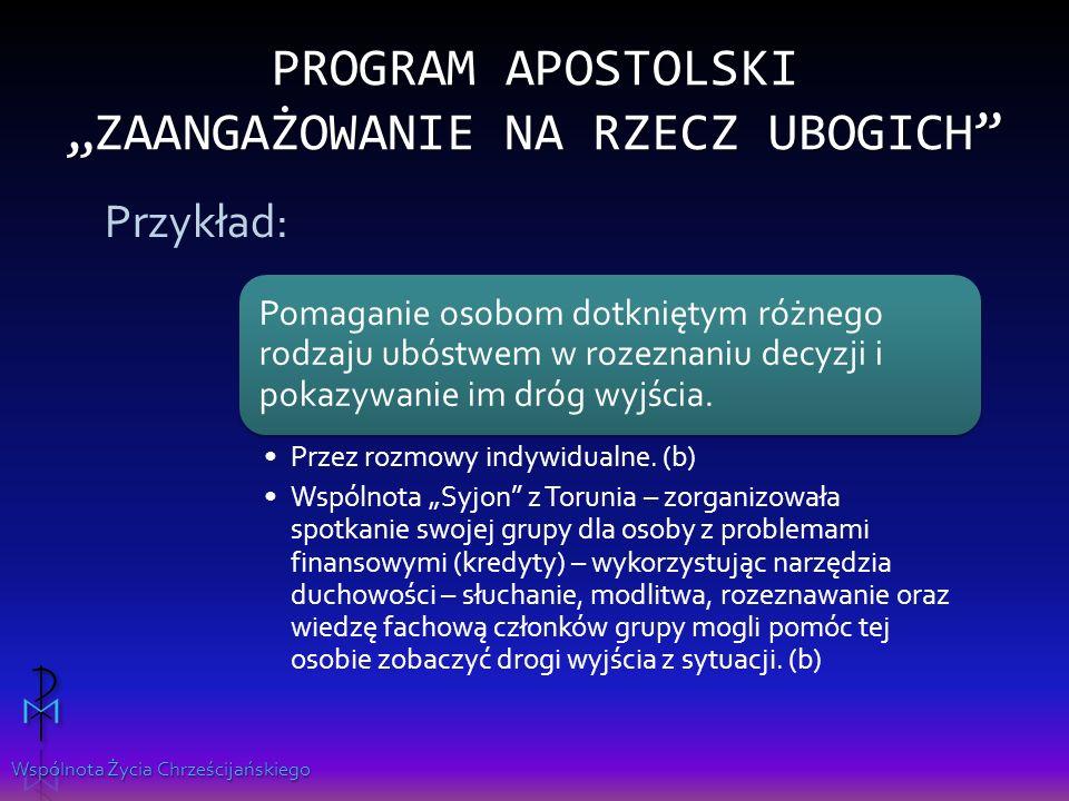 """Program apostolski """"Zaangażowanie na rzecz ubogich"""
