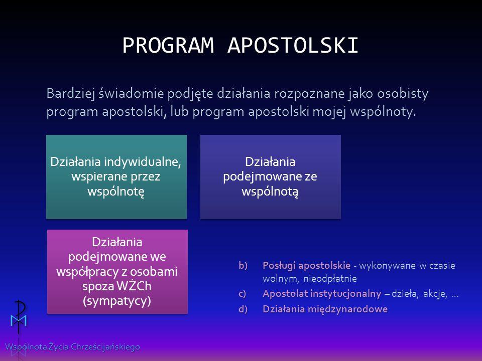 Program apostolski Bardziej świadomie podjęte działania rozpoznane jako osobisty program apostolski, lub program apostolski mojej wspólnoty.