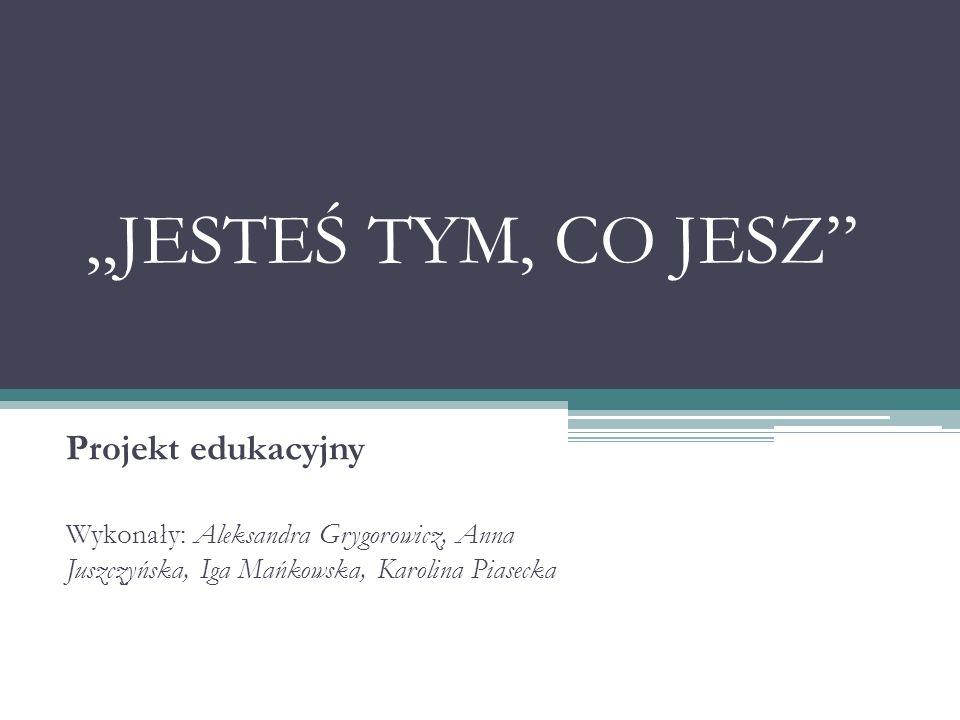 """""""JESTEŚ TYM, CO JESZ Projekt edukacyjny"""