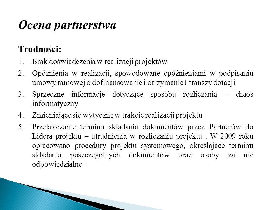 Ocena partnerstwa Trudności: Brak doświadczenia w realizacji projektów