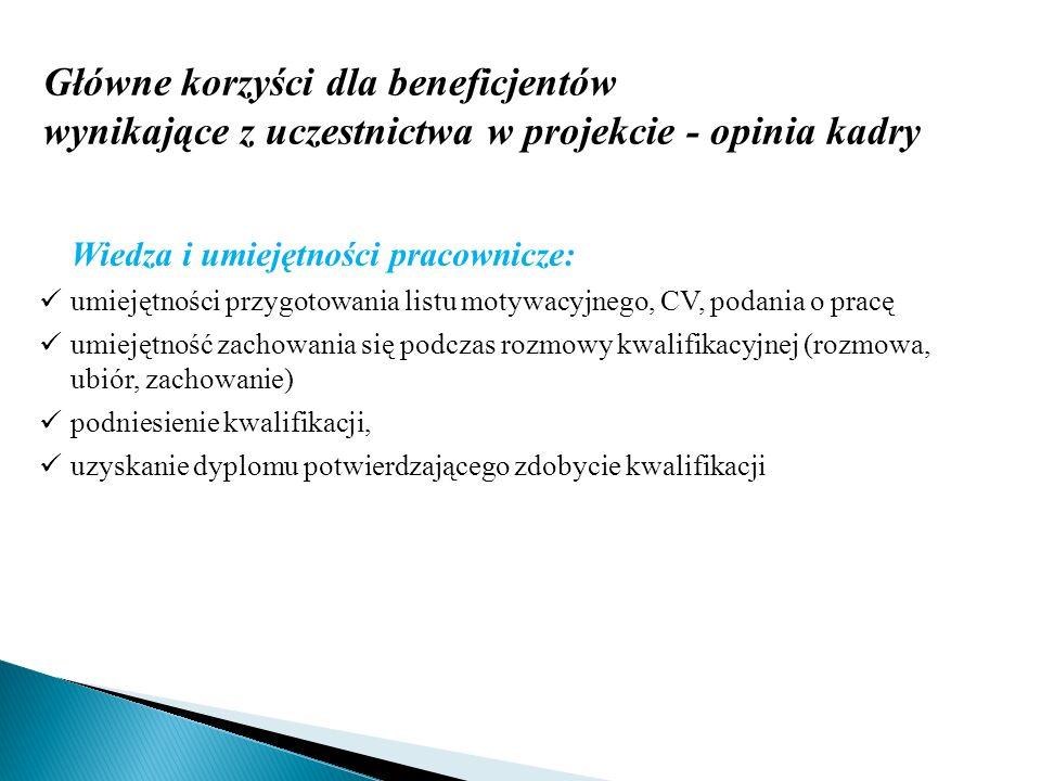 Główne korzyści dla beneficjentów wynikające z uczestnictwa w projekcie - opinia kadry