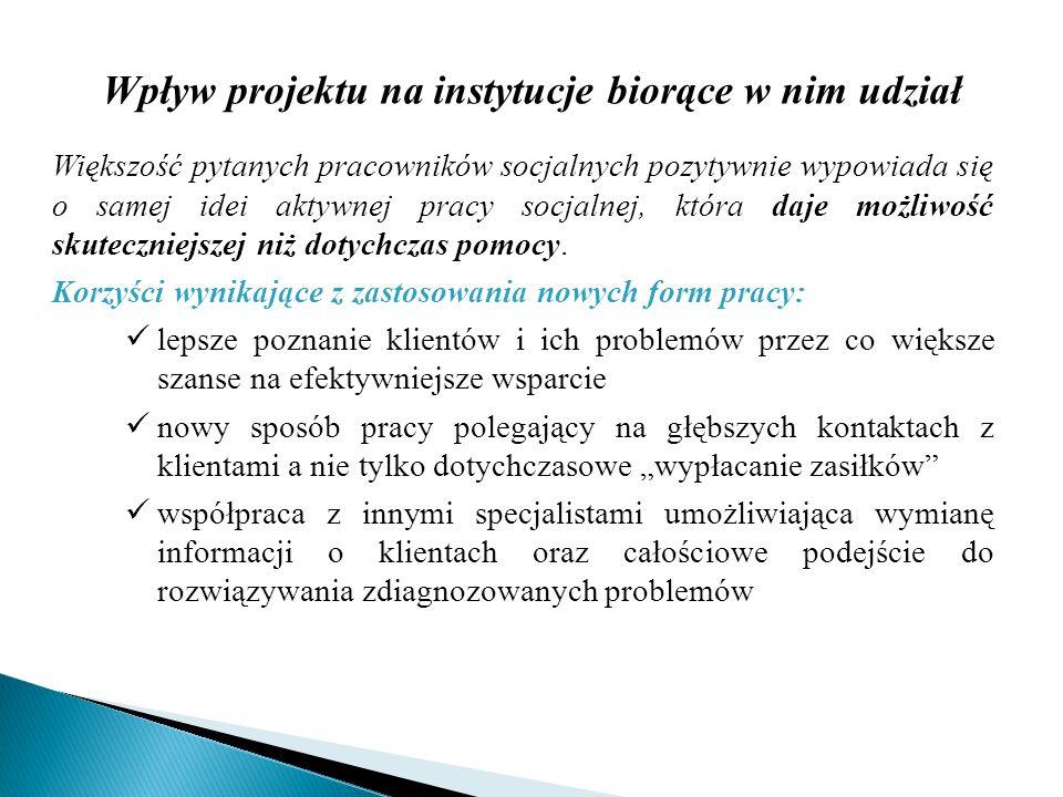 Wpływ projektu na instytucje biorące w nim udział
