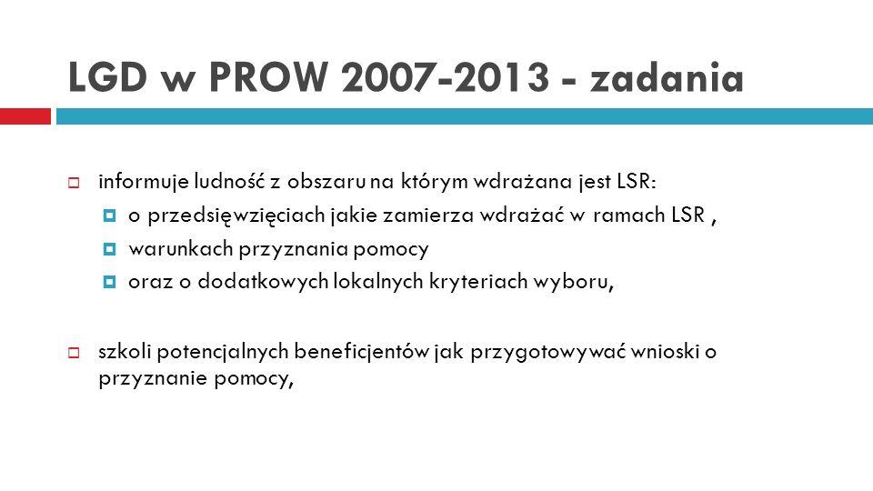 LGD w PROW 2007-2013 - zadania informuje ludność z obszaru na którym wdrażana jest LSR: o przedsięwzięciach jakie zamierza wdrażać w ramach LSR ,