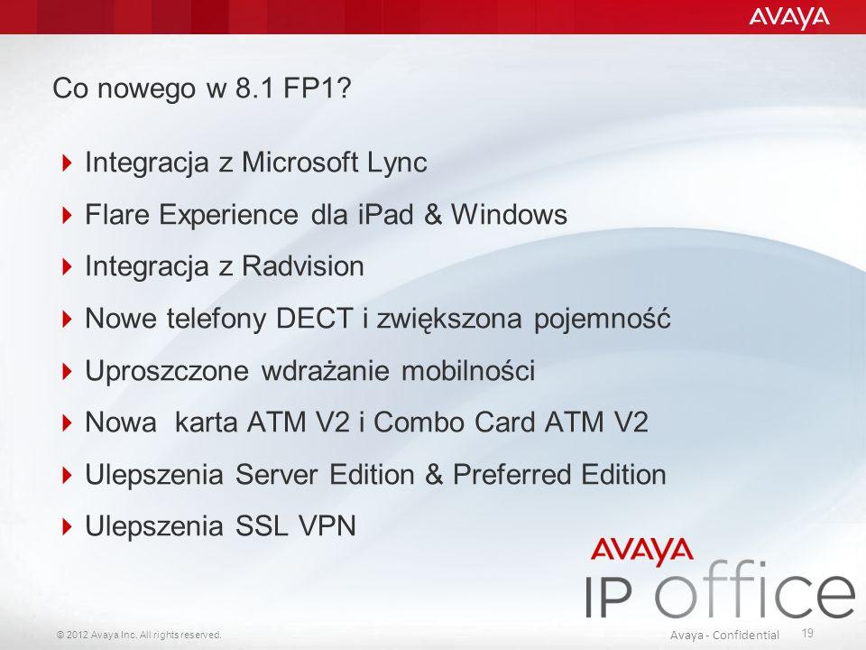 Co nowego w 8.1 FP1 Integracja z Microsoft Lync. Flare Experience dla iPad & Windows. Integracja z Radvision.