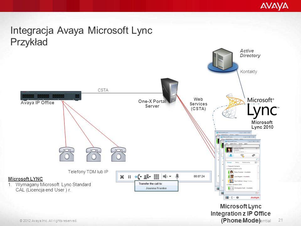 Integracja Avaya Microsoft Lync Przykład