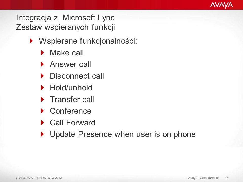 Integracja z Microsoft Lync Zestaw wspieranych funkcji