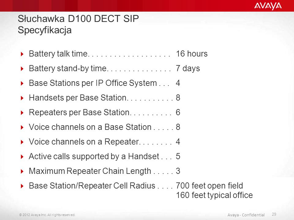 Słuchawka D100 DECT SIP Specyfikacja