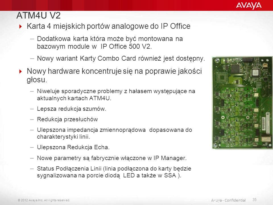ATM4U V2 Karta 4 miejskich portów analogowe do IP Office