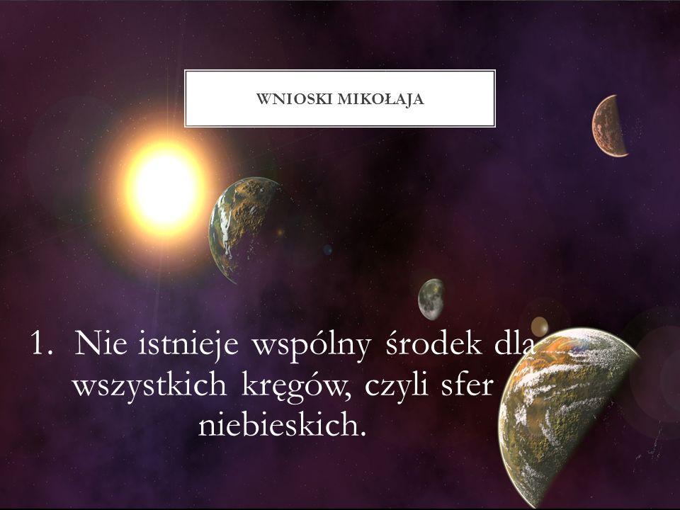 Wnioski mikołaja 1. Nie istnieje wspólny środek dla wszystkich kręgów, czyli sfer niebieskich.
