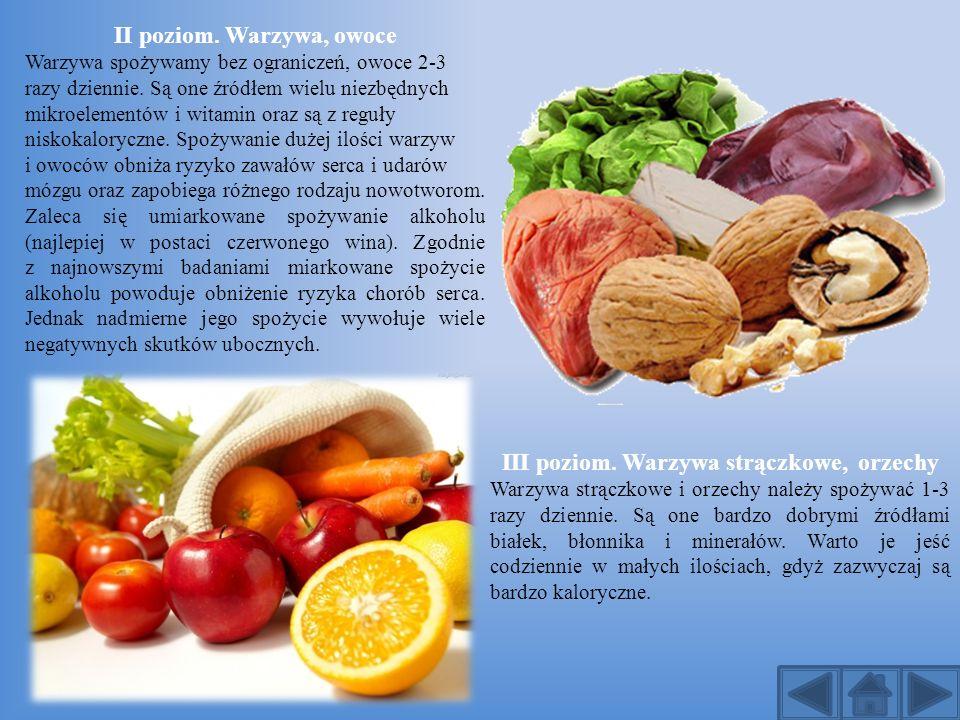 II poziom. Warzywa, owoce III poziom. Warzywa strączkowe, orzechy