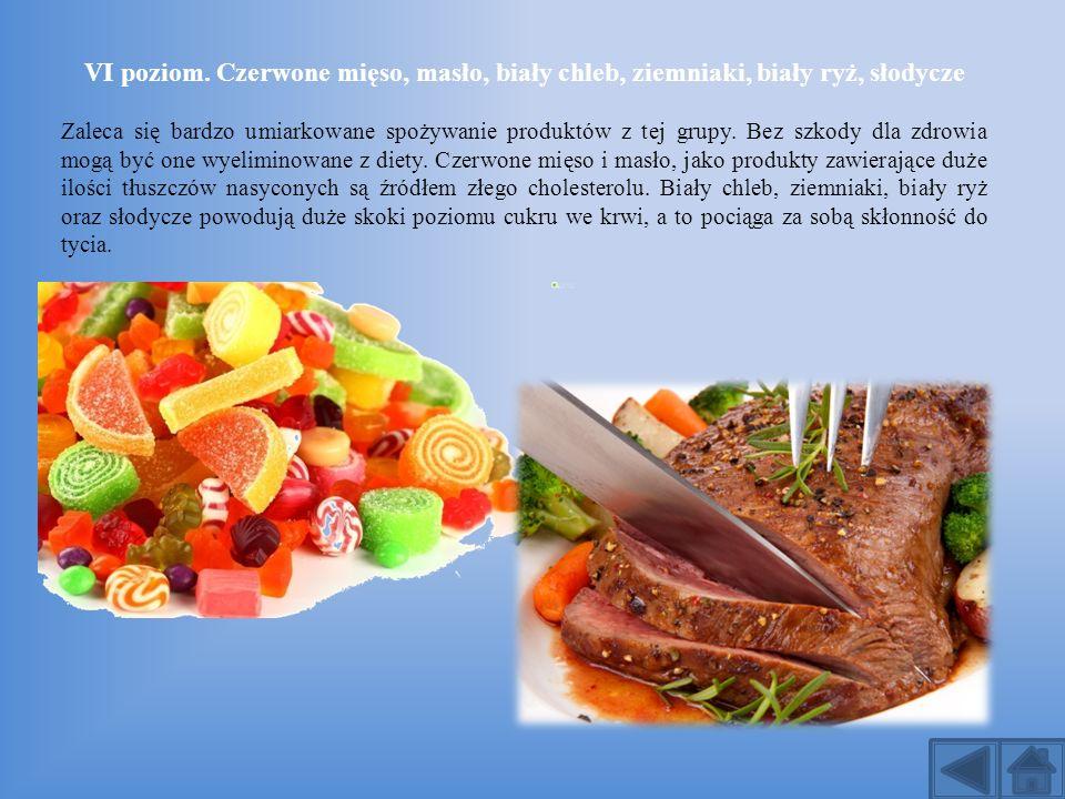VI poziom. Czerwone mięso, masło, biały chleb, ziemniaki, biały ryż, słodycze