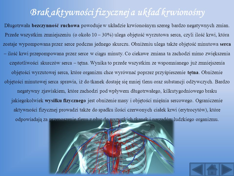 Brak aktywności fizycznej a układ krwionośny Długotrwała bezczynność ruchowa powoduje w układzie krwionośnym szereg bardzo negatywnych zmian.