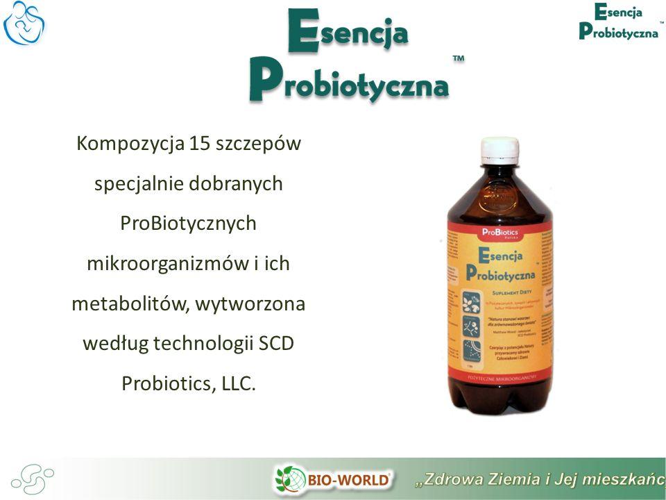 Kompozycja 15 szczepów specjalnie dobranych ProBiotycznych mikroorganizmów i ich metabolitów, wytworzona według technologii SCD Probiotics, LLC.
