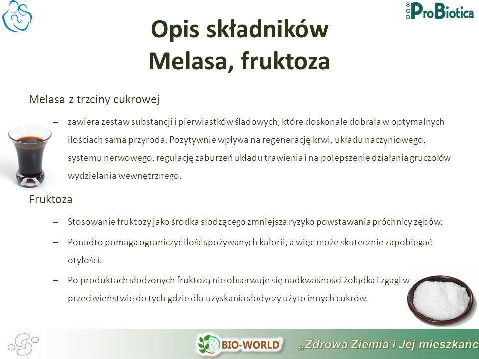 Opis składników Melasa, fruktoza