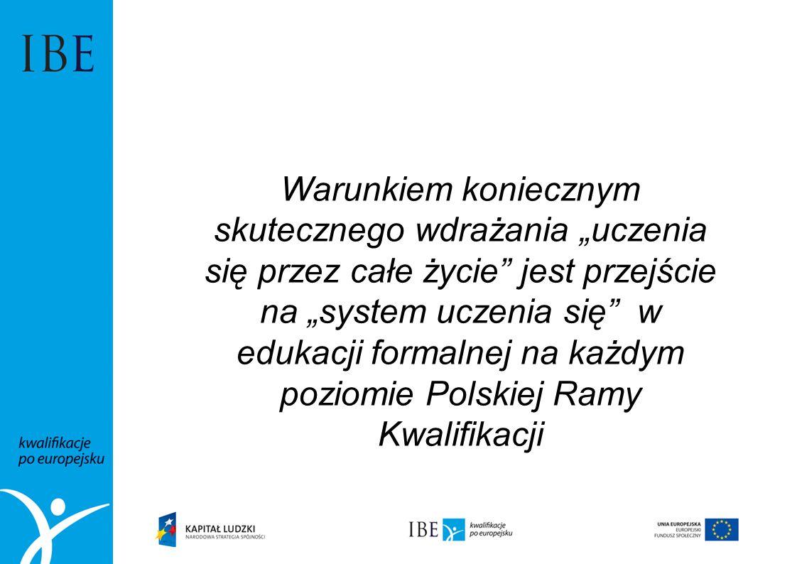 """Warunkiem koniecznym skutecznego wdrażania """"uczenia się przez całe życie jest przejście na """"system uczenia się w edukacji formalnej na każdym poziomie Polskiej Ramy Kwalifikacji"""