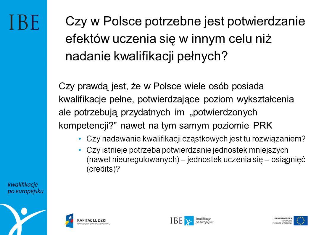 Czy w Polsce potrzebne jest potwierdzanie efektów uczenia się w innym celu niż nadanie kwalifikacji pełnych