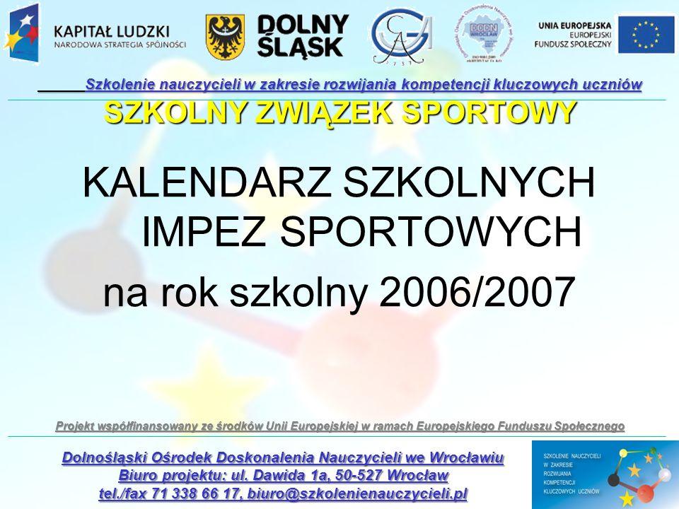 KALENDARZ SZKOLNYCH IMPEZ SPORTOWYCH na rok szkolny 2006/2007