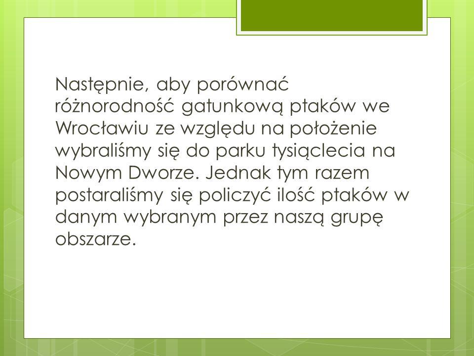 Następnie, aby porównać różnorodność gatunkową ptaków we Wrocławiu ze względu na położenie wybraliśmy się do parku tysiąclecia na Nowym Dworze.
