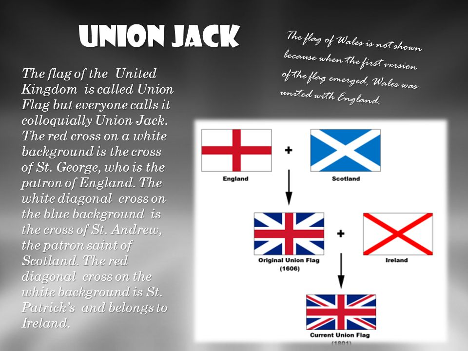 Union JackThe flag of Wales is not shown because when the first version of the flag emerged, Wales was united with England.