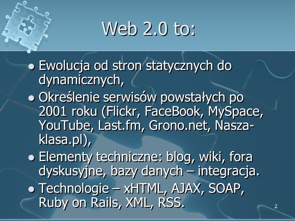 Web 2.0 to: Ewolucja od stron statycznych do dynamicznych,