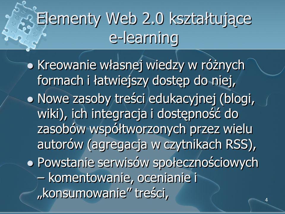 Elementy Web 2.0 kształtujące e-learning