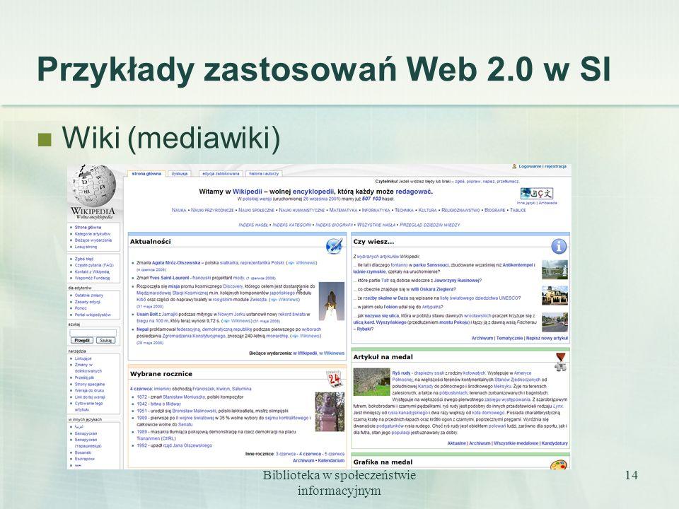 Przykłady zastosowań Web 2.0 w SI