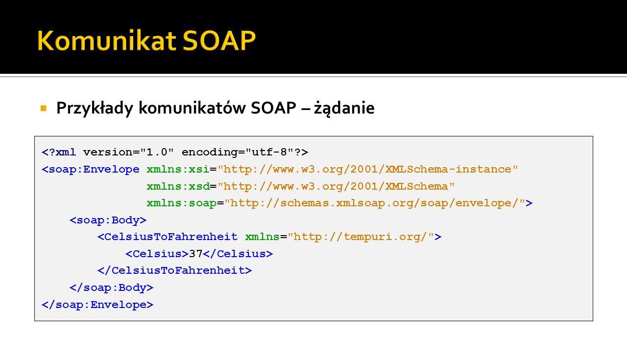 Komunikat SOAP Przykłady komunikatów SOAP – żądanie