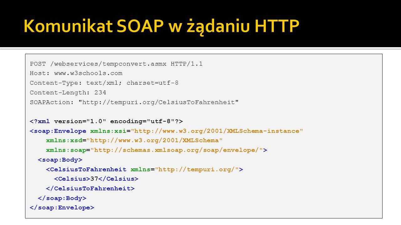 Komunikat SOAP w żądaniu HTTP