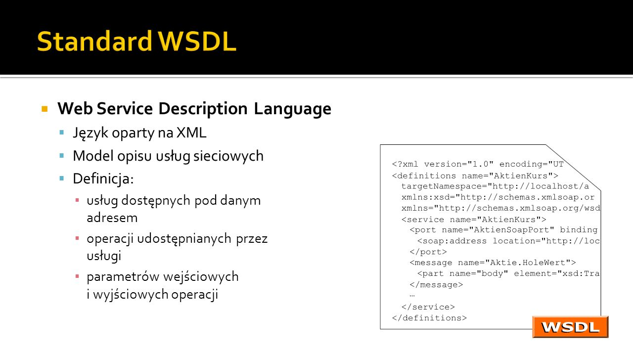 Standard WSDL Web Service Description Language Język oparty na XML
