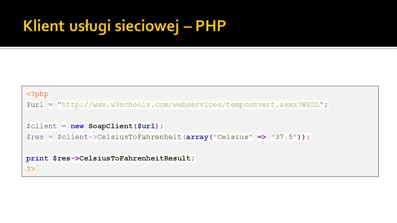 Klient usługi sieciowej – PHP