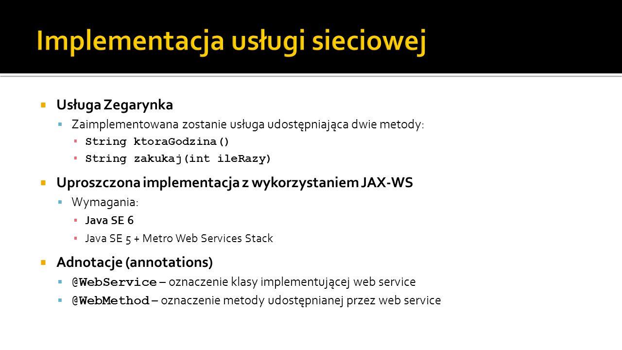 Implementacja usługi sieciowej